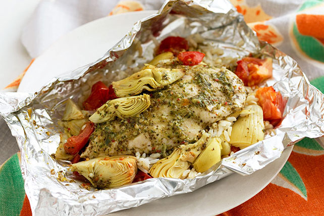Foil-Pack Artichoke & Chicken Dinner