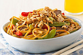 Asian Peanut Noodles with Beef for Two