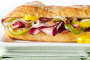 Zesty Italian Sauteed Onion, Pepper and Beef Sandwich
