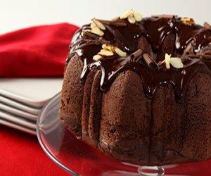 Triple Chocolate Almond Pudding Cake