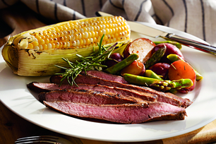 Barbecued Flank Steak with Grilled Vegetables and Corn