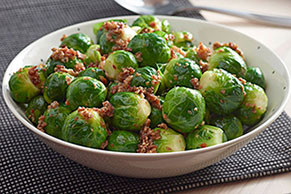 Brussels Sprouts with Bacon and Sun Dried Tomato Dressing
