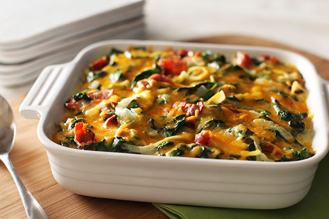 Cheesy Bacon Scalloped Potatoes with Spinach Image 1