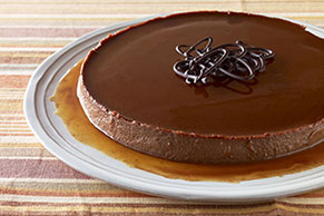 Flan de queso crema y chocolate