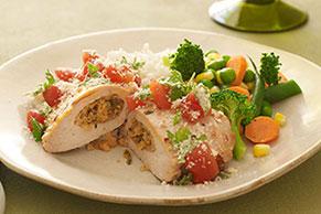 Pechugas de pollo rellenas con cilantro