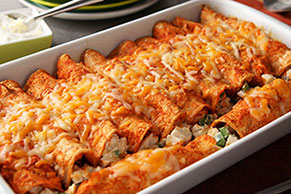 Creamy Chicken Red Enchiladas