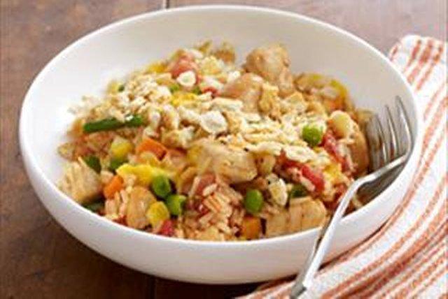 Pollo a la sartén con arroz y queso Image 1