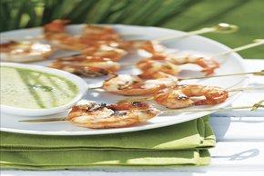 Camarones dulces asados con salsa de cilantro