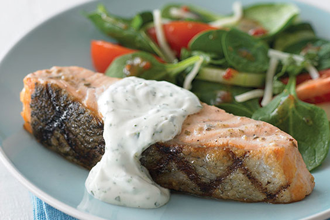 Grilled Salmon with Herb Sauce Image 1