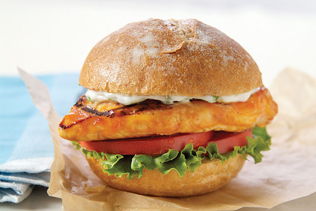 Grilled buffalo chicken sandwich kraft recipes for Buffalo chicken sandwich recipe grilled