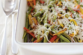 Roasted Green Beans With Peppers & Onion