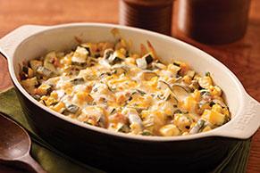 Horneado cremoso de maíz, calabacitas y chipotle
