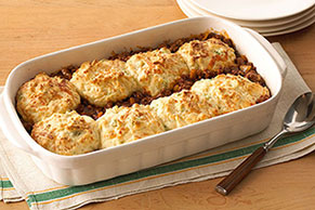Biscuit-Topped Tomato-Beef Bake