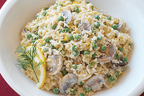 Creamy Rice with Peas and Mushrooms