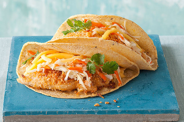 Crispy Chicken Tacos with Mango-Chipotle Slaw Image 1