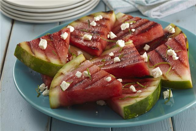 Grilled Watermelon with Lime & Feta