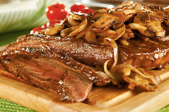 New York Style Steak with Mushroom Saute Image 1