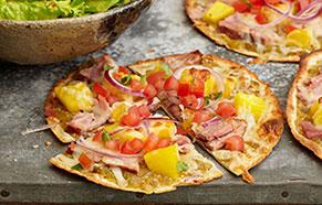 Pineapple-Ham Whole Wheat Pizzas