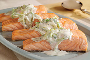 Salmon with Leek Cream Sauce