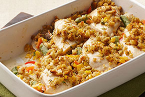 Stuffing-Crusted Creamy Chicken Casserole