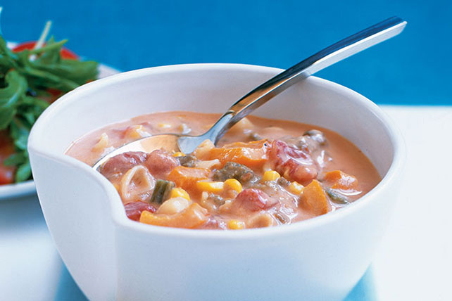 Cheesy Garden Vegetable Soup with Pasta Image 1