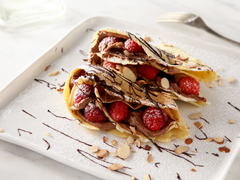 Raspberry-Hazelnut Cordial Crepes with Chocolate Cream Cheese Filling