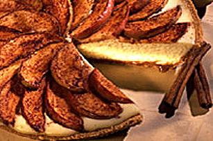 Gâteau au fromage, au caramel et aux pommes d'automme