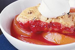 Warm Peach Berry Cobbler