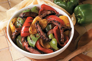 Grilled Tri-Coloured Pepper & Mushroom Salad