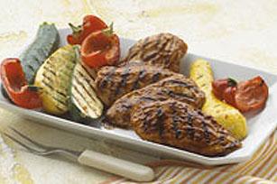 Poulet à l'orange et légumes sur le gril