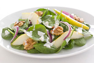 Spinach, Pear and Creamy Poppyseed Salad