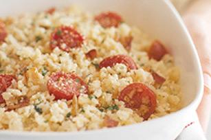 Risotto italien au bacon et aux tomates
