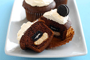 Mini OREO Cookie-Peanut Butter Surprise Cupcakes