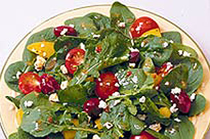 Spinach and Roasted Red Pepper Salad with Feta Image 1