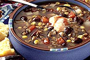 Western Bean and Veggie Burger Soup Image 1