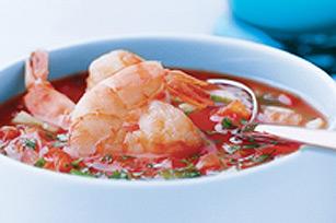 Gaspacho avec crevettes