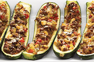 Meat & Vegetable Stuffed Zucchini