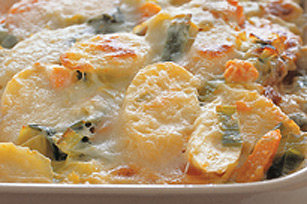 Leek and Sweet Potato au Gratin