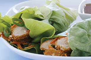 Pork Lettuce Wraps with Warm Peanut Sauce