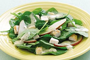 Salade aux épinards, au poulet et aux poires