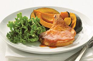 Glazed Pork Chops with Squash