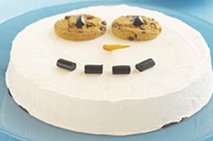 Un bonhomme de neige aux biscuits aux pépites de chocolat