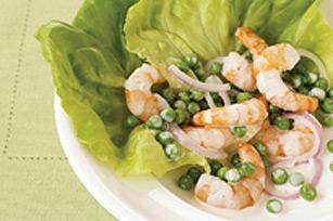 Salade minute aux crevettes et petits pois