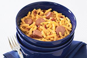 Macaroni au fromage, saucisses et bacon