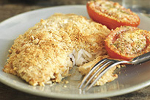 Crispy Baked Fish with Parmesan Tomatoes