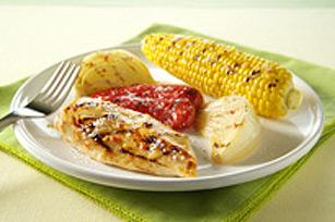 Poulet et légumes grillés au parmesan