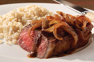 Steak with Brandied Onion-Mushroom Sauce