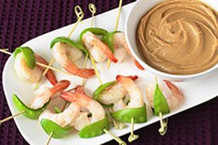 Bouchées aux crevettes et aux pois mange-tout avec sauce à l'arachide