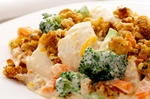 Poulet et légumes au fromage au four