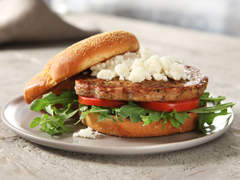 BOCA Essentials Roasted Vegetable & Red Quinoa Burgers with Arugula, Tomatoes & Goat Cheese